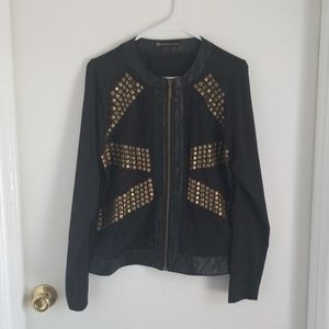 Black Jacket with Gold Studs and Faux Leaether